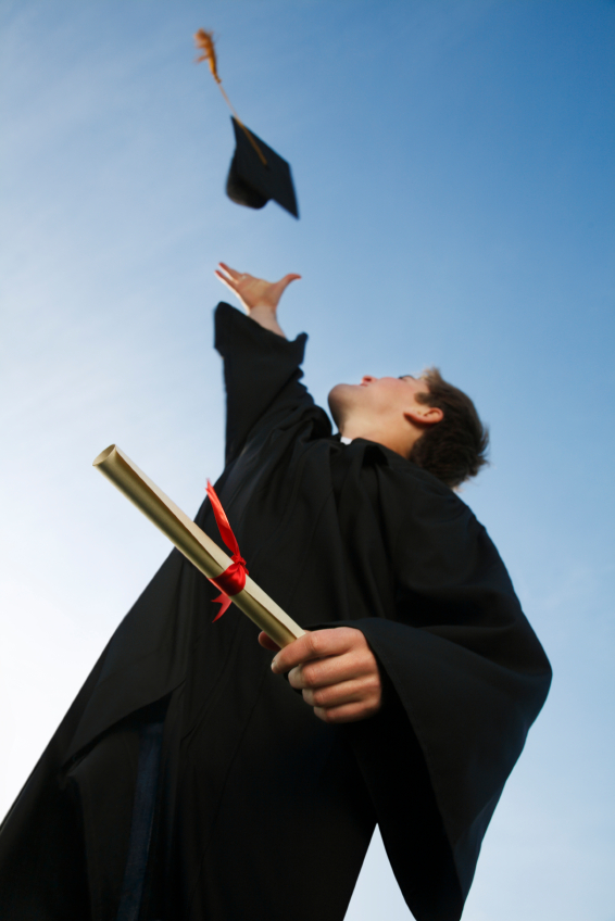 A graduate celebrates.